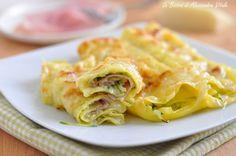Rotoli+di+lasagna+con+zucchine+prosciutto+e+formaggio