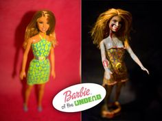 Turn a pretty Barbie doll into a brain-eating zombie. Free tutorial with pictures on how to decorate a Barbie doll in under 60 minutes by decorating and molding with acrylic paint, craft knife, and doll. Inspired by halloween, barbie, and zombies. Zombie Barbie, Zombie Dolls, Creepy Dolls, Ugly Dolls, Princess Barbie Dolls, Barbie Doll Set, Bad Barbie, Teen Library, Library Ideas