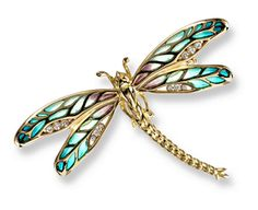 Shimmering 18K Dragonflies The iridescence of dragonfly wings has been captured by Nicole Barr's plique-à-jour translucent enamel in original jewellery designs. Each piece is carefully layered with shimmering vibrant colours and enhanced with diamonds -- creating a work of art to be treasured.