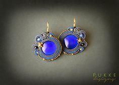 Blue soutache earrings Cat eye earrings Women accessory by pUkke