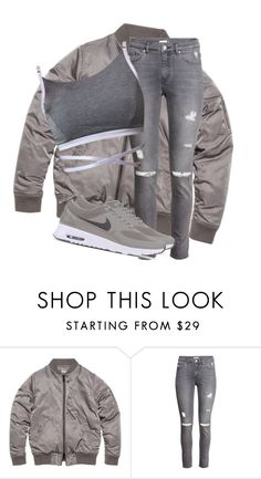 """""""Untitled #3263"""" by xirix ❤ liked on Polyvore featuring H&M, NIKE, women's clothing, women, female, woman, misses and juniors"""