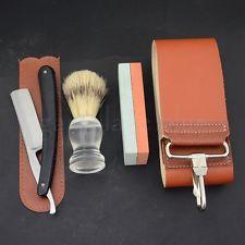 Classic Straight Razor Strop Sharpener Whetstone Bristle Hair Brush Shaving Kit