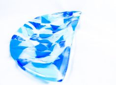 The Blues Half Circle Fused Glass Plate by BecauseofLily on Etsy