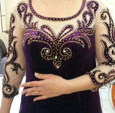 Hand Work Embroidery, Embroidery Dress, Beaded Embroidery, Embroidery Designs, Dress Neck Designs, Blouse Designs, Velvet Evening Gown, Edwardian Dress, Panel Dress