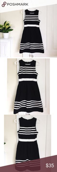 "Madewell Afternoon Striped Dress in Black/white Sleeveless dress in nautical Saltwater Stripe pattern. Casual fit-and-flare silhouette. Rushing adds slight volume to the skirt. Zip back. Unlined. Machine wash cold. 97% cotton/3% spandex. 33"" from shoulder to hem laid out. Madewell Dresses"