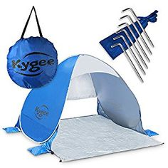 Kygee Instant Pop Up Sun Shade Beach Cabana Tent W/ Sand Anchor Pockets and Stakes -- You can find out more details at the link of the image. (This is an affiliate link and I receive a commission for the sales) Camping And Hiking, Hiking Gear, Camping Hacks, Beach Cabana, Beach Tent, Camping Canopy, Baby Registry Items, Pop Up Tent, Thing 1