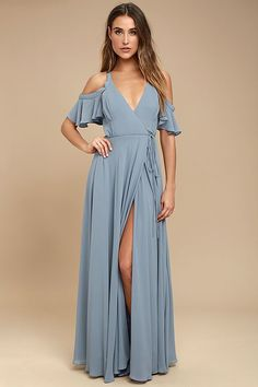 Lulus Exclusive! Glide across the dance floor in the Easy Listening Slate Blue Off-the-Shoulder Wrap Maxi Dress! Lightweight Georgette starts this exquisite ensemble off with tank straps and ruffled off-the-shoulder sleeves atop a darted, surplice bodice. Tying waist accents the wrap skirt with a front slit and full maxi length.