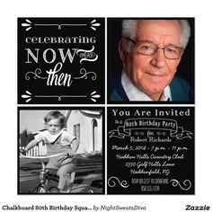 Chalkboard 80th Birthday Square Photo Invitation