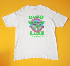 Gecko Lager Hawaii T Shirt Vintage 80s Poly Tees Copyright 1989 Crew Neck Short Sleeves Shirt Apparel Size XL Made In USA by InPersona on Etsy