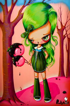 Candy Girls; Candy Apple Girl/Sour Apple: pinkytoast painting.jpg