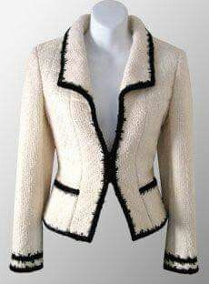 I could go black with my pink fabric trim!CHANEL Ivory Contrast Trimmed Boucle Jacket : I could go black with my pink fabric trim! Chanel Outfit, Chanel Fashion, Boucle Jacket, Tweed Jacket, Chanel Style Jacket, Chanel Jacket Trims, Mode Chanel, Chanel Runway, Chanel Chanel