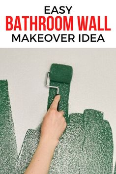 Give your bathroom wall a makeover for cheap with this easy DIY project. You won't believe the transformation with some bold wall color and creative stencil you'll have a bathroom makeover that only looks expensive so check out the before and after photos. #diy #bathroomwall #makeover Simple Bathroom, Bathroom Wall, Bathroom Ideas, Home Interior, Interior Colors, Interior Livingroom, Interior Modern, Interior Design, Cheap Bathrooms