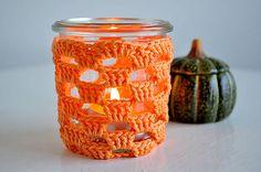 HOMY / Háčkovaný svietnik - oranžový