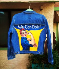 Rosie The Riveter hand painted on a denim jacket by @bleudoor on Instagram