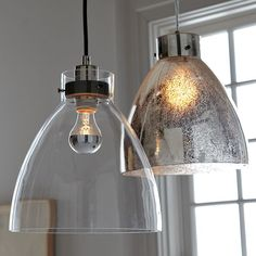 Remodel:  $99 antq mercury glass industrial pendant, 60W, use 2?