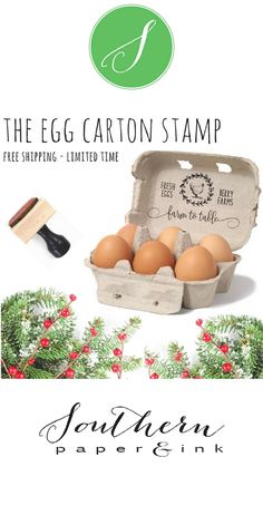 Know someone who raises chickens? Give them a personalized Egg Carton Stamp. It makes a great gift for the chicken lover in your life. Visit Southern Paper and Ink to personalize. #chickens #raisingchickens #chickenlover #crazychickenlady