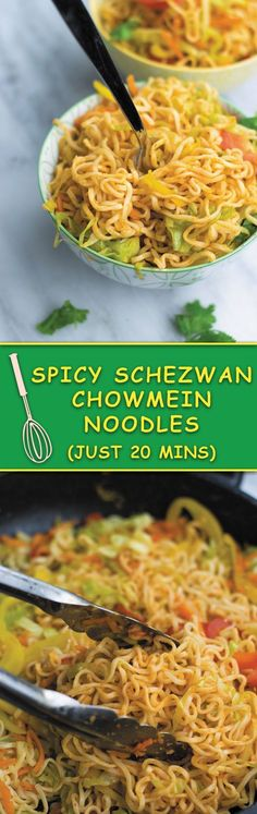 Spicy Schezwan Chowmein Noodles - cheap ramen noodles used without seasoning packets, with tons of fresh vegetables and spicy schezwan sauce. A quick 20 MINS dinner that keeps U & Your wallet full! Chowmein Noodles, Ramen Noodles, Schezwan Sauce, Vegetarian Recipes, Cooking Recipes, Chow Mein, Mets, Asian Recipes, Maggi Recipes