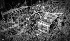 https://flic.kr/p/CmspR2 | Discarded Shopping Carts_BW | Fond these discarded shopping carts in an old rail yard in Oklahoma City.
