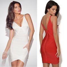 Women Sexy V-neck Backless HL Vest Celebrity Bandage Dress Fashion Summer Wear Sleeveless Red Color Drop Shipping HL2033