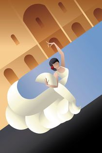 """""""Art Deco styled Spain Flamenco dancer on sity landscape"""" Graphic/Illustration by Jera RS posters, art prints, canvas prints, greeting cards or gallery prints. Find more Graphic/Illustration art pr. Art Deco Posters, Vintage Posters, Vintage Art, Motifs Art Nouveau, Art Prints Online, Flamenco Dancers, Panel Art, Mexican Art, Oil Painting On Canvas"""