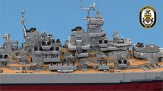 Super-detailed LEGO USS Missouri model over 4 feet long