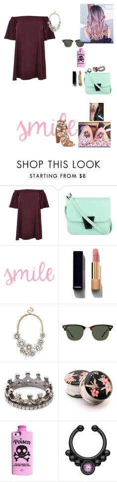 """""""Untitled #1192"""" by sapphirejones ❤ liked on Polyvore featuring River Island, Chanel, BaubleBar, Ray-Ban, Loree Rodkin, Valfré and BCBGeneration"""