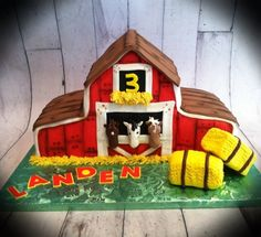 Horse Barn Cake. I love this. Brantley wants for 1st birthday!! Lol