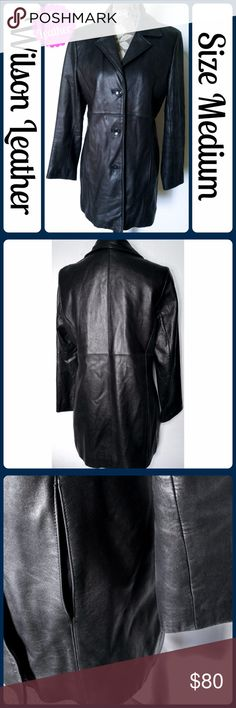 "Sz M Wilsons Leather Coat Center Button Coat Beautiful black leather coat, barely worn. The coat is Thinsulate Ultra Insulation lined and in almost new condition. This beautiful soft leather jacket has only been worn on a few occasions and well looked after. -3 buttons up the front -2 front pockets -Fully lined -100% Leather *Measurements* -Across Bust 22"" -Length 32"" from center back No scuffs, rips, tears, or stains From a smoke-free home, No trades (279) Wilsons Leather Jackets & Coats"