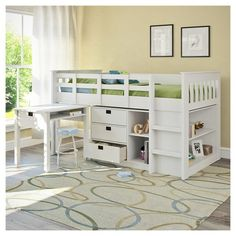 Give your child a sleeping space they'll love with the BMG-310-B Twin/Single Loft Bed Collection from CorLiving. A stylish addition to any room, this loft bed has a Snow White finish and shaker inspired detailing. It features a raised bed, three large storage drawers, bookshelf and a space-saving desk on wheels that can be pulled out when it's needed. There is no need for a box spring as the platform of 12 sturdy slats offer plenty of mattress support. This bed from ...