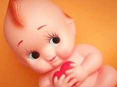https://flic.kr/p/6wk1iF | Kawaii Cute Kewpie Doll Bank with Red Heart Home Decor Japan