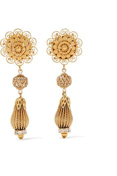 Dolce & Gabbana | Gold-tone Swarovski crystal clip earrings | NET-A-PORTER.COM