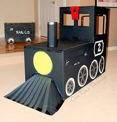 how to make a polar express train from cardboard boxes Train Crafts, Vbs Crafts, Classroom Crafts, Arts And Crafts Projects, Polar Express Party, Polar Express Train, Cardboard Train, Cardboard Crafts, Paper Crafts