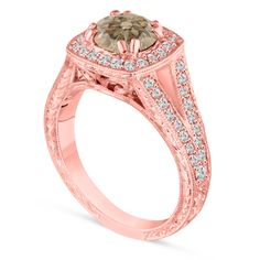 Rose Gold Fancy Champagne Brown Diamond Engagement Ring, Wedding Ring Vintage Antique Style Hand Engraved Unique handmade