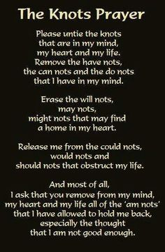 Chant or meditation for removing stress or knots in your life.
