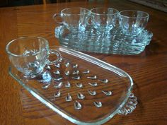 1950's Hazel Atlas Glass Snack Set ~ Good to know, I have this set but have not seen any markings on Hazel Atlas pieces.