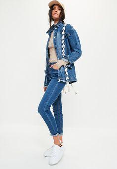 Missguided - Blue Oversized Lace Up Denim Jacket