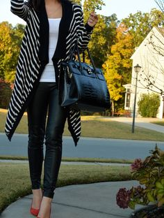leather pants for fall and a comfy cardigan. street style