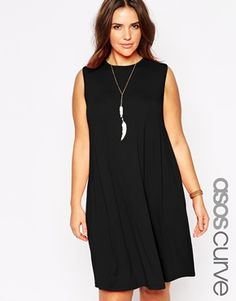Buy ASOS CURVE Sleeveless Swing Dress at ASOS. With free delivery and return options (Ts&Cs apply), online shopping has never been so easy. Get the latest trends with ASOS now. Asos Curve, Plus Size Fashion For Women, Plus Size Womens Clothing, Plus Size Dresses, Plus Size Outfits, Robe Swing, Sleeveless Swing Dress, Casual Day Dresses, Curvy Models