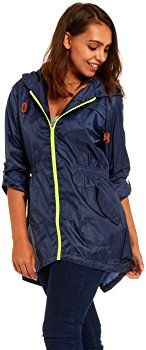 Women's Raincoat lightweight rain mac festival parka jacket Kagool Navy Blue Ladies Size 8-10 (8-10 / Small, Navy): Amazon.co.uk: Clothing