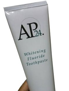 AP-24® Whitening Fluoride Toothpaste lightens teeth without peroxide while preventing cavities and plaque formation.