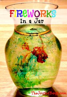 Fireworks in a Jar- Simple science project using oil and water