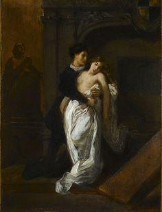 Delacroix.Juliet in front of the Tomb of   the Capulets. 1855. Bought 2008.  Oil on paper marouflé on canvas - 35.3 x 26.5 cm.  Museum Delacroix (Les Adieux de Roméo et de Juliette  - 1845)