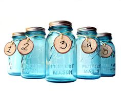 blue Mason jars - click on the pic to find the flowers we liked!