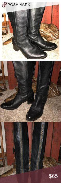 Sexy!Calvin Klein Leather Boots ,zip back , black Super Hot! Super Comfortable, Barely worn (2-3 Times) Haydee style Zip Back. Easy on and off, Soft Suede interior,just Switching up my closet🙃❤️ Calvin Klein Shoes Heeled Boots