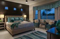 Teal and grey bedroom idea