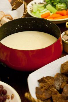 Swiss Cheddar Fondue - with garlic, white wine, a little lemon juice, a little brandy and a pinch of nutmeg.