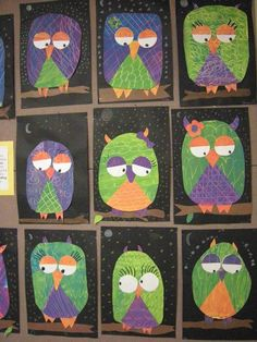 for grade Secondary Color Owls.cute idea, but I would have the kids cut out their own shapes, etc. Kindergarten Art Projects, Classroom Art Projects, School Art Projects, Art Classroom, First Grade Art, 2nd Grade Art, Grade 2, Third Grade, October Art