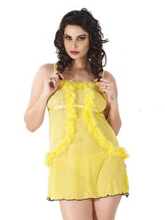Shyle Yellow Fashionable Babydoll Nightwear
