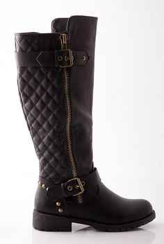 Haute Harness Buckled Mid Calf Gold Zipper Riding Boots - Black ...