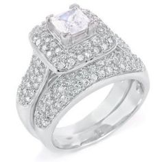 best price Sterling Silver Cubic Zirconia CZ Victorian Wedding Engagement Ring Set cheap price anniversary rings buy now with latest deals offer price Sterling Silver Wedding Rings, Silver Engagement Rings, Engagement Ring Settings, Sterling Silver Jewelry, Wedding Engagement, 925 Silver, Silver Ring, Cubic Zirconia Wedding Rings, Diamond Wedding Bands